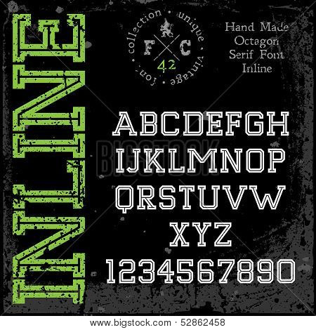 Handmade retro font. Slab serif inline type. Grunge textures placed in separate layers. Vector illustration. poster