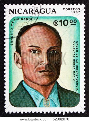 Postage Stamp Nicaragua 1987 Ernesto Mejia Sanchez, Poet