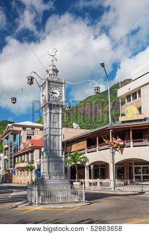 Clock Tower In Victoria, Mahe, Seychelles