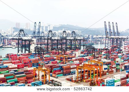 Containers At Hong Kong Commercial Port
