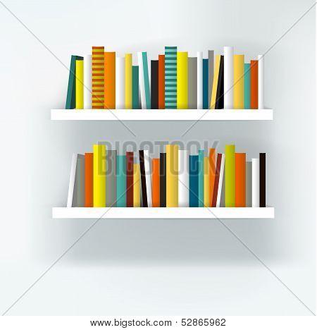 Book shelf interior. Modern furniture design isolated on white. Vector illustration.  Art backgroun