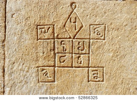 Ancient Hindu Astrology Symbols On The Wall Of Old House In Jaisalmer, India, Rajasthan