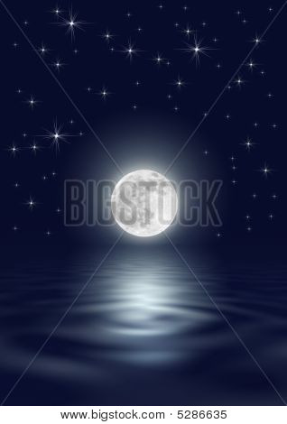 Fantasy abstract of a full moon on the spring equinox against a star filled dark blue sky with reflection over rippled water. poster