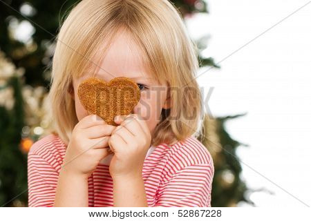 Boy Peeking Behind  Gingerbread Cookie