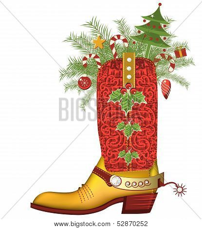 cowboy boot with christmas decoration isolated on white.Luxury shoe with diamonds and decoration poster