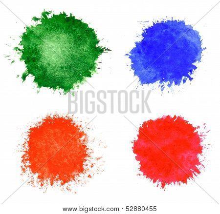 Abstract Hand Drawn Watercolor Blots Set