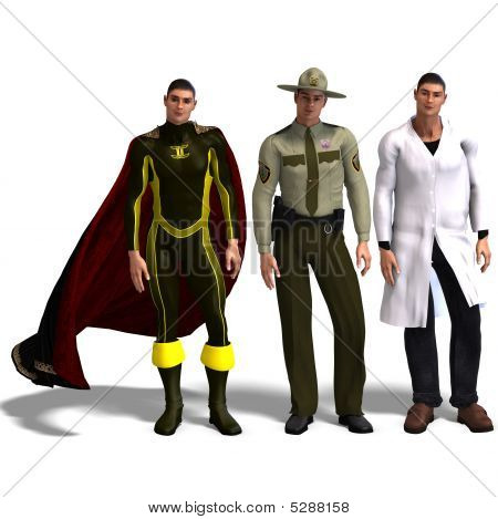 Three Different Outfits: Hero, Policeman, Doc