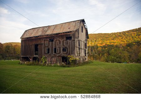 Old Barn In Countryside With Autumn
