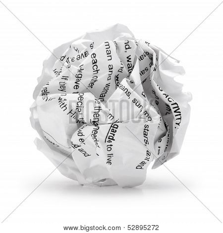 Paper ball - Crumpled sheet of print text script writing paper isolated .