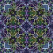 art nouveau geometric ornamental vintage pattern in violet and green colors poster