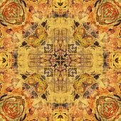 art nouveau geometric ornamental vintage pattern in beige and brown colors poster