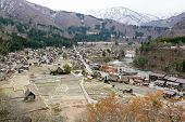 Traditional style huts in Gassho-zukuri Village Shirakawago and Gokayama World Heritage Site Japan poster