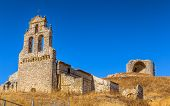 Remains of El Salvador church and the castle of Mota del Marques, Spain. poster