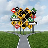 Confusing direction decision questions deciding on a clear strategy for solutions in business with a crossroads path to success choosing the right strategic plan with the challenge of a group of confusing traffic signs as a guide. poster