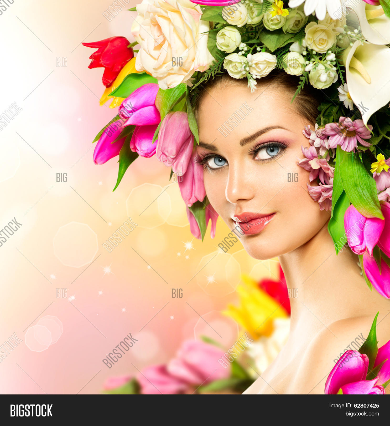 Beautiful lady with flowers flowers healthy spring woman beauty summer model with colorful flowers flowers hair style beautiful izmirmasajfo