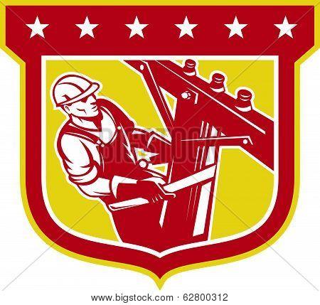 Power Lineman Telephone Repairman Shield