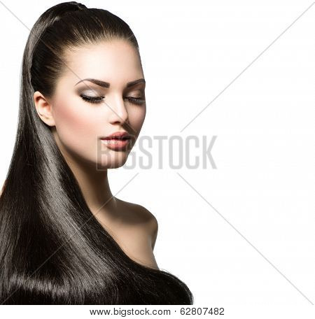 Beauty Brunette Fashion Model Girl with Long Healthy Straight Hair, Ponytail Hair. Trendy hairstyle. Beautiful Woman with brown long Healthy smooth hair  poster
