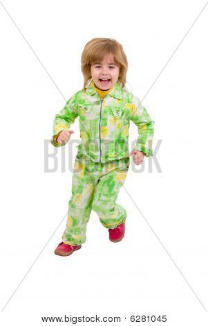 Running Child. Isolated On White Background.