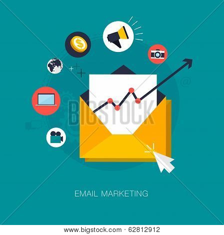 vector email marketing concept illustration, for various uses poster