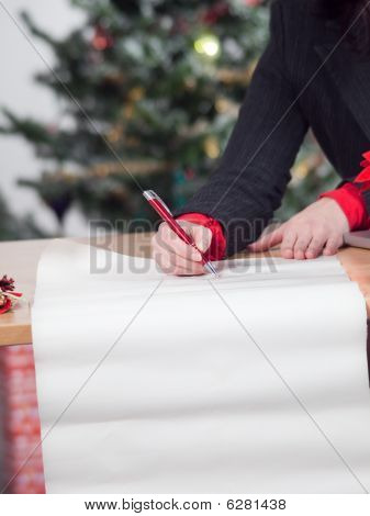 business woman with christmas list