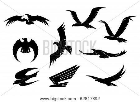 Silhouette set of flying birds