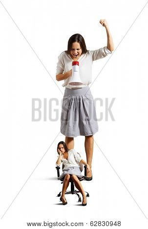 dismal woman and emotional screaming woman over white background