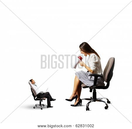 smiley small man listening angry big woman over white background