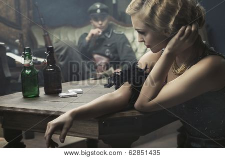 Sexy woman seduce a soldier poster