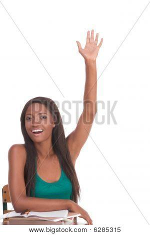 African American Schoolgirl Raised Hand In Class