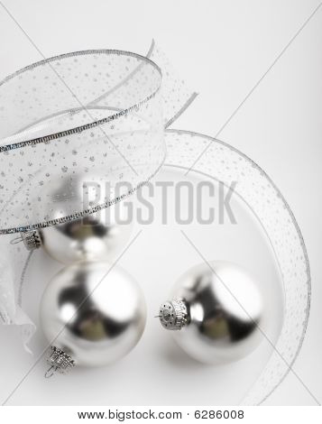Silver Christmas Ornaments Background
