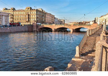 Fontanka river, Anichkov Bridge, St Petersburg, Russia poster