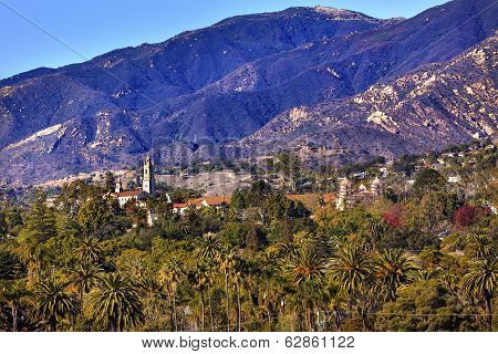 Mission Mountains Palm Trees Santa Barbara California. Founded in 1786 at the end of Father Junipero Serra life. poster