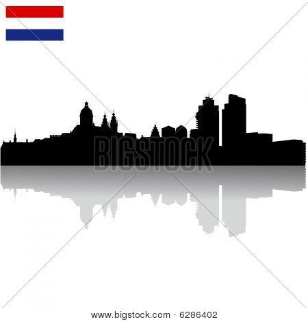 Black vector Amsterdam silhouette skyline with flag