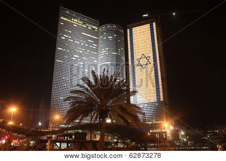 Azrieli Center, Tel Aviv, Israel during independence day