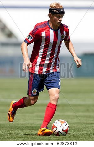 CARSON, CA - APRIL 6: Chivas USA M Kristopher Tyrpak (21) during the MLS game between the Los Angeles Galaxy & Chivas USA on April 6th 2014 at the StubHub Center in Carson, Ca.