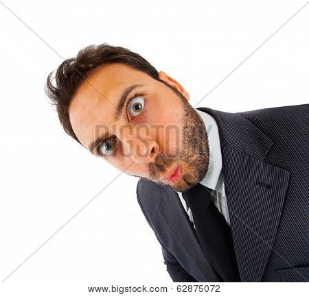 Young Businessman With Surprise Expression