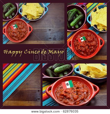 Happy Cinco De Mayo, 5Th May, Party Table Celebration Collage With Mexican Colors, Food, Background