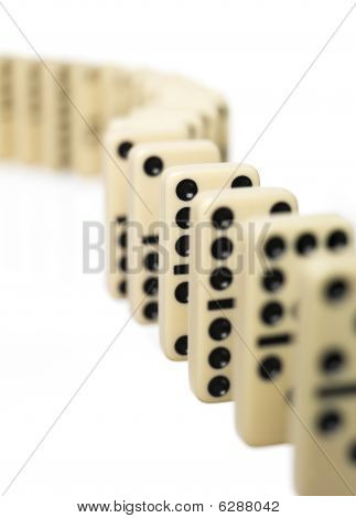 Domino bricks on a row