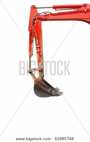 Backhoe side view isolated white