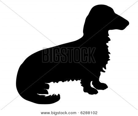 The black silhouette of a longhaired Badger Dog poster