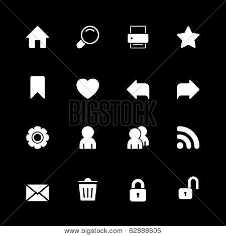 Web technology iconset, contrast silhouettes