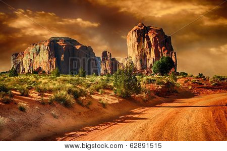 Beautiful Image of a Road through monument Valley