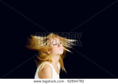 Young attractive blond woman shaking with head