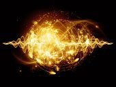 Atomic series. Abstract concept of atom and quantum waves illustrated with fractal elements poster