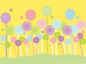 Vector illustration of pretty pastel flowers and butterflies on a yellow background poster