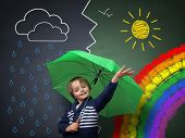 Child holding an umbrella standing in front of a chalk drawing of changing weather from rain storm to sun shine with a rainbow on a school blackboard poster