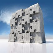 Blank big jigsaw puzzle made of concrete parts poster