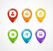 Vector map pointer. Icon pin set rainbow poster