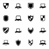 Vector black icon shield icons set on white background poster