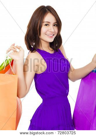 Happy Aisan Young Woman Holding Shopping Bags